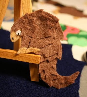 felted pangolin, crafts
