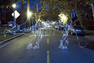 dinosaur light painting